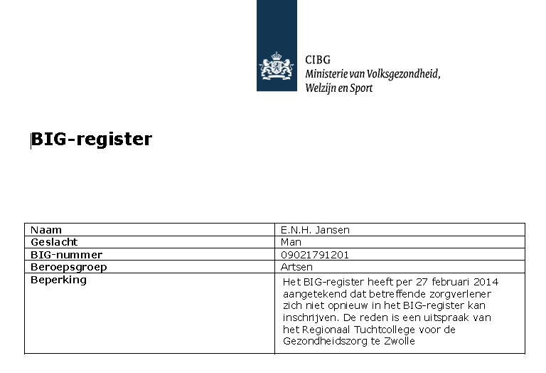 Jansen Steur BIG-register